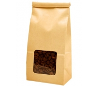 1 lb (450g) Tin Tie Paper Bags with Window - Natural Kraft | SupplyVillage.com