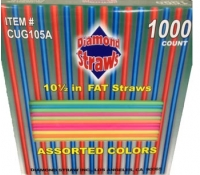 10.5'' Neon Assorted Unwrapped Fat Drinking Straws 1000/Box