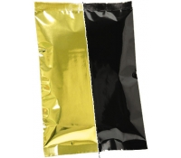 2oz Plain Metallized Flat Pouches - Gold/Black