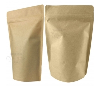 16oz Natural Kraft Stand-Up Zip Pouches