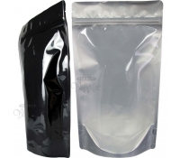 8 oz Stand-Up Zip Pouches, Clear/Black Foil, Without Valve