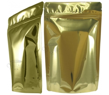 16 oz Stand-Up Zip Pouches, Metallized, Gold, Without Valve